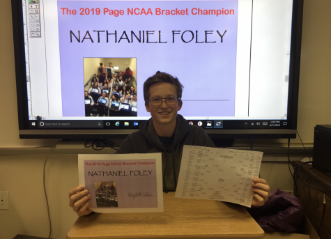 Nathaniel Foley wins The Page's annual March Madness bracket challenge