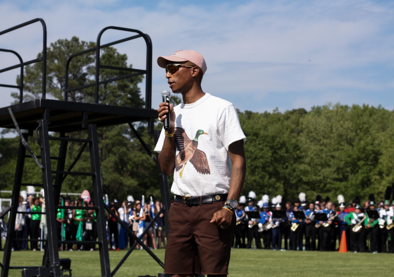 Pharrell Williams speaks to crowd about his friendship with Chad Hugo. (Photo courtesy of Spencer Davidson).