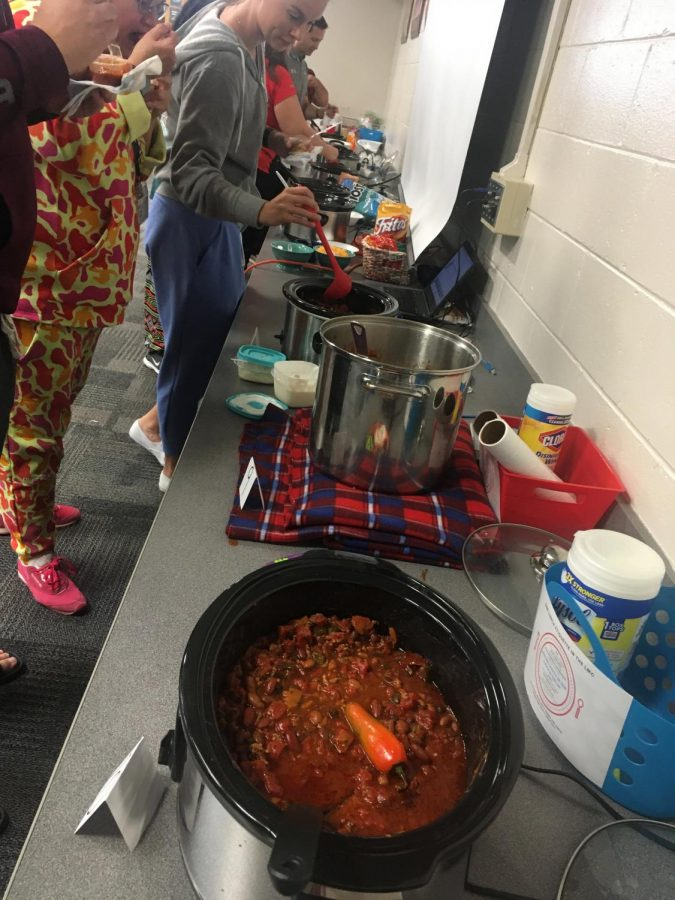 Row of all the chili at the PAHS chili cookoff. Photo by Mr. Thurman.