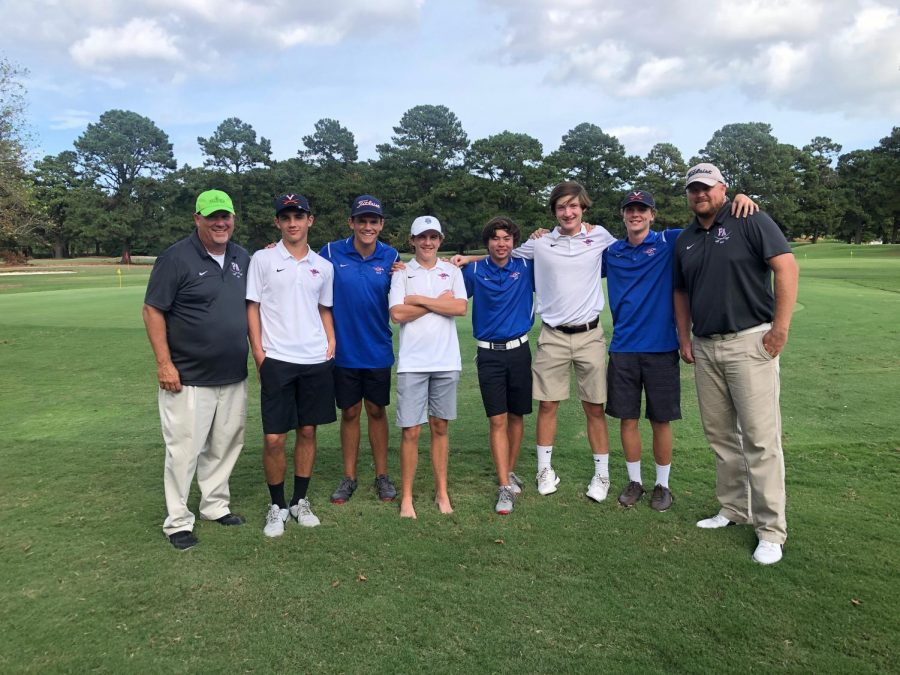 The golf team at regionals.  Left to right: Coach Ryan Cassidy, Wyatt Wetzler, Steven Harper, Chase Pappas, Oen Shikimachi, Noah McNamara, Eric Venner, Coach Paul Shows.  (Photo courtesy of Steven Harper).