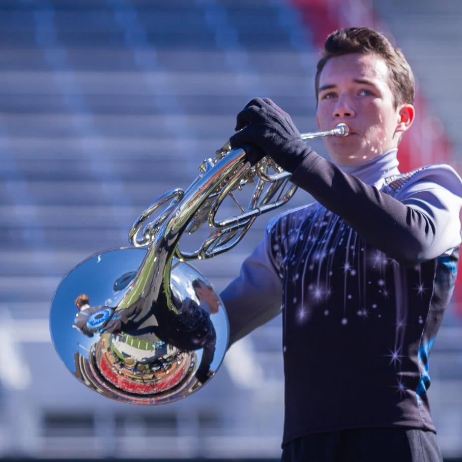 Gabe Boyd plays the French horn.  Photo Courtesy of John Boyd.