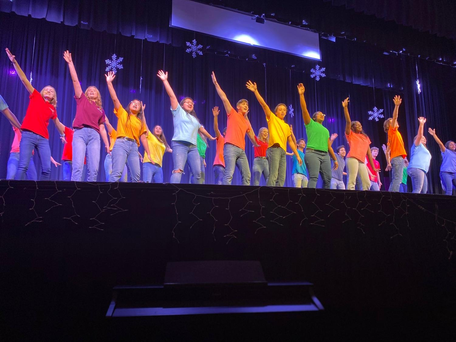 Princess Anne's Leader Workshop staff for the 2019-2020 school year performs their introductory song to Round-Up.  Photo Courtesy of Bella Coulter.