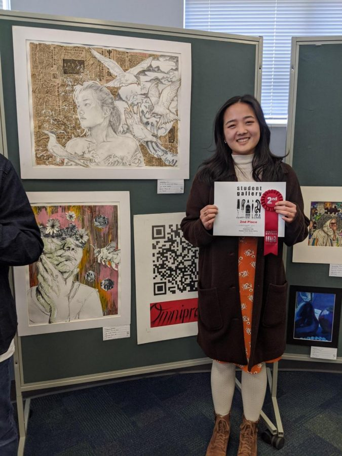 Senior Christina Liu wins second place at the Hampton Roads Art Competition.