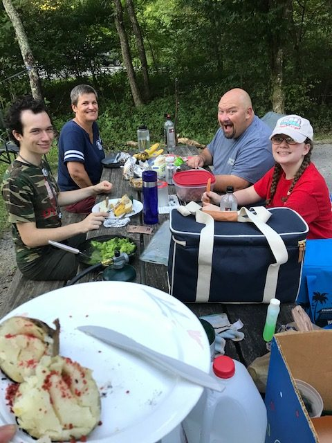 The Boyd family and Crothers on their camping trip in Hungry Mother State Park