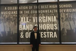 Gabe Boyd at the All-Virginia Band, Chorus & Orchestra competition pre-Covid. Courtesy of John Boyd.